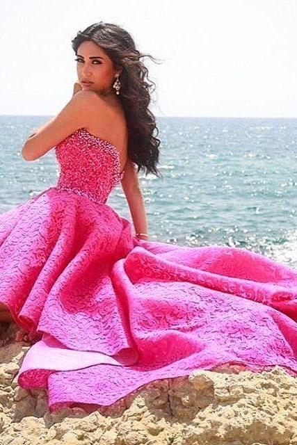 Sexy High Low Long Prom Dresses, Beaded Lace Prom Dresses, Hot Pink Prom Dress,Sweetheart Prom Dresses, Fuchsia Backless Women Formal Party Dresses, Custom Made Prom Dress