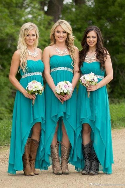 Turquoise Bridesmaid Dresses,Beach Bridesmaid Dresses ,High Low Modest Chiffon Long Wedding Guest Gowns