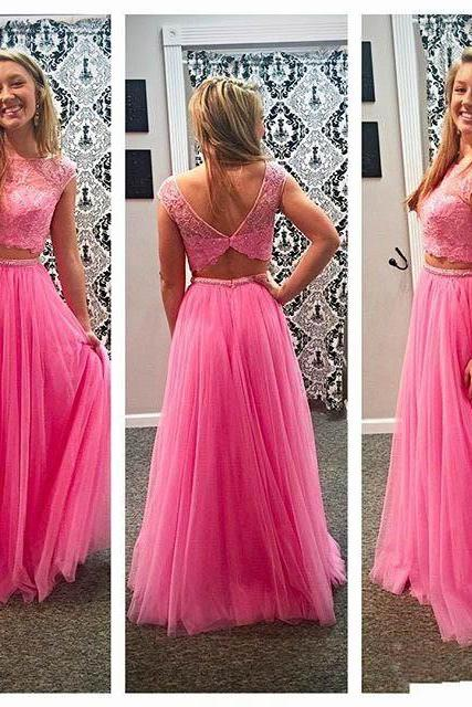 Elegant Pink Two Pieces Beaded Crystals Prom Dresses Sexy Scoop Neckline Short Sleeve Appliques Tulle Evening Gowns