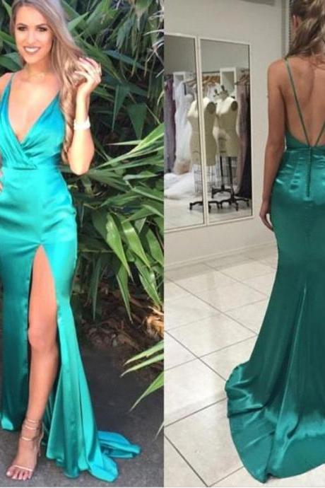 Simple Cheap Green Sexy Evening Dresses Long, Sexy Prom dress,prom gown Sexy, party dress, formal dress, custom plus size