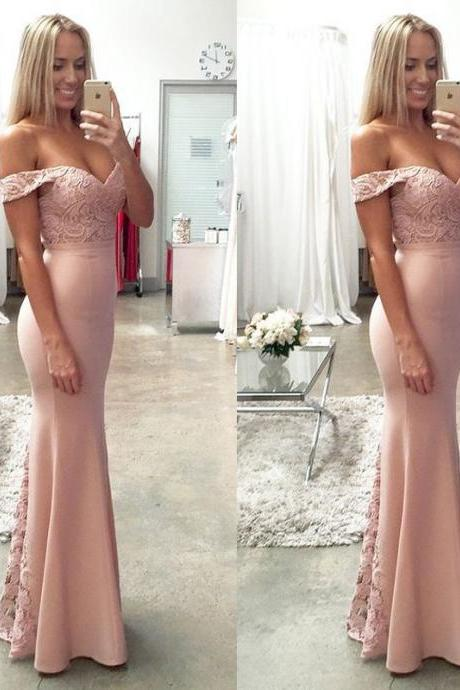 Off Shoulder Baby Pink Prom Dresses Mermaid, Prom dress Lace, prom gown, party dress, formal dress, evening dress, graduation dress, custom plus size