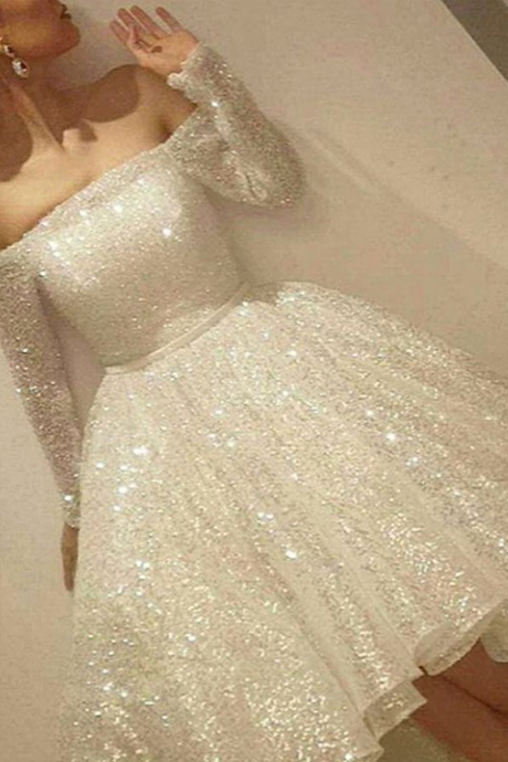 Bling Bling Ivory Short Sequins Prom Dresses with Long Sleeves, Homecoming Dresses,prom gown, party dress, formal dress, evening dress, graduation dress, custom plus size