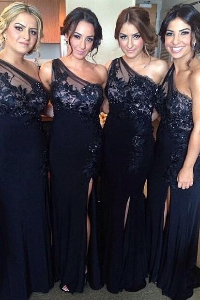One Shoulder Mermaid Navy Blue Bridesmaid Dresses Long,Bridesmaid Gowns, Maid of Honor Dress,Wedding Party Dresses, Formal Evening Dress, Prom Dresses