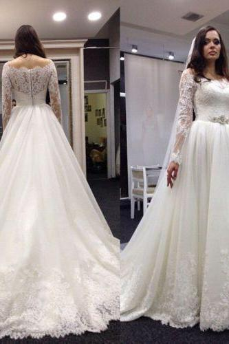 Lace Wedding Dress with Long Sleeves, Wedding Gowns, Bridal Dresses, Bridal Gowns, Bride Dress, Dress for wedding, Cheap Wedding Dress, Custom Wedding Dress Plus size