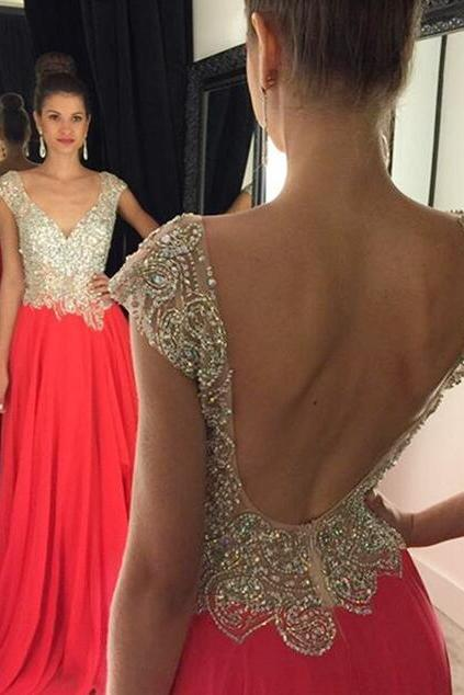 Beading Hot Pink Prom Dresses Backless, Prom Gown Long,Formal Evening Dresses,Party Dress Cheap, Homecoming Dresses,Graduation Dress Custom Plus size