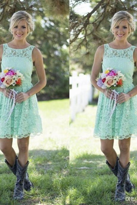 Mint Lace Bridesmaid Dresses Short,Bridesmaid Gowns Cheap, Maid of Honor Dress,Wedding Party Dresses