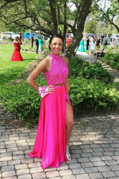 Hot Pink Prom Dress,Prom Dress Two Piece,Prom Gown,Prom Dress Sexy,Cheap Prom Dress,Sales Prom Dress,Homecoming Dress, 8th Grade Prom Dress,Holiday Dress,Evening Dress,Evening Dress Long,Hot Pink Evening Dress,Formal Dress, Long Homecoming Dresses, Graduation Dress, Cocktail Dress, Party Dress