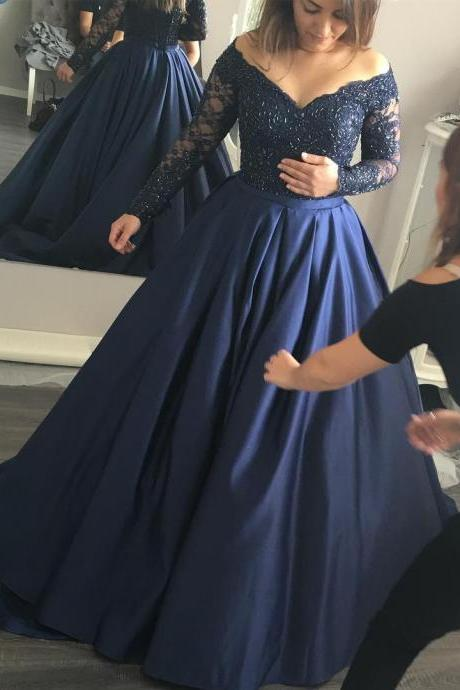 Prom Dress Navy Blue,Prom Dress Long Sleeves,Prom Dress Off the Shoulder,Prom Gown,Celibrity Dress,Cheap Prom Dress,Homecoming Dress, 8th Grade Prom Dress,Holiday Dress,Evening Dresses,Evening Dress Long Sleeves,Navy Blue Evening Dress,Formal Dress,Homecoming Dresses, Graduation Dress, Cocktail Dress, Party Dress