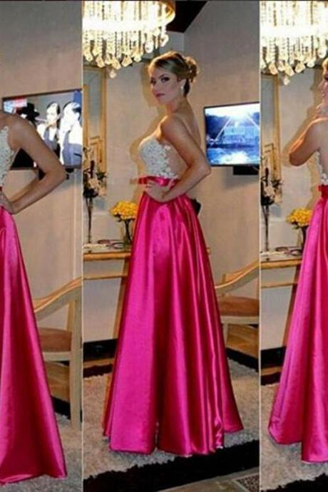 Custom Cheap Long Hot Pink Prom Dresses Gowns with Ivory Lace Illusion Back Elegant Evening Dresses Party Dresses Plus Size