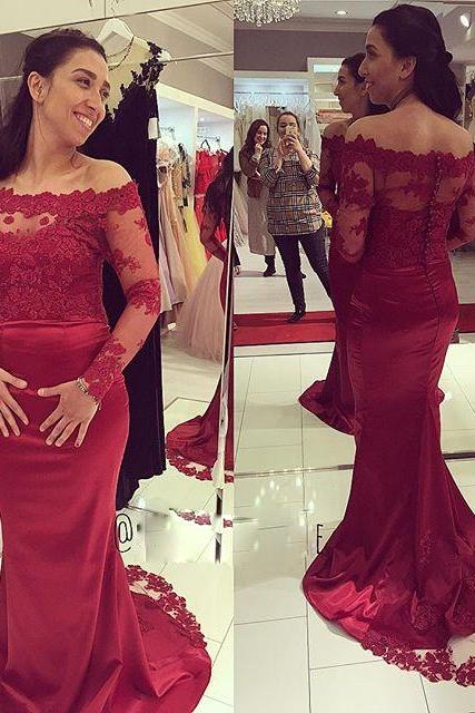 Custom Cheap Long Mermaid Off the Shoulder Lace Prom Dresses Gowns with Long Sleeves Elegant Evening Dresses Party Dresses Plus Size