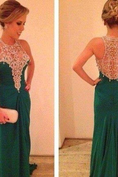 Custom Cheap Long Green Prom Dresses Gowns Chiffon Elegant Evening Dresses Party Dresses Plus Size