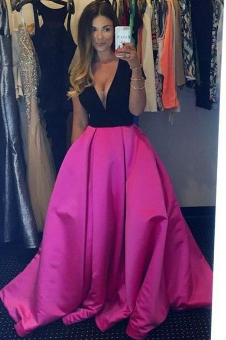 Custom Cheap Long Black and Pink Prom Dresses Ball Gown Evening Dresses Party Dresses Cocktail Dress Homecoming Dresses Plus Size