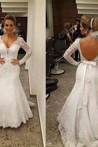 V-Neck Lace Mermaid Wedding Dress Featuring Long Sleeves and Open Back