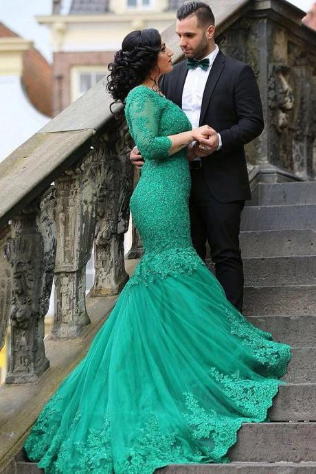 Prom Dress,Turquoise Prom Dress, Prom Gown,Mermaid Prom Dress,Lace Prom Dress,Prom Dress 3/4 Sleeves,Prom Dress Long Train,Prom Dress Cheap,Affordable Prom Dress,Junior Prom Dress,Formal Dress,Evening Dresses,Party Dress,Custom Plus size