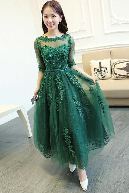 Prom Dress,Prom Gown,Green Prom Dress,Ankle Length Prom Dress,Prom Dress Half Sleeves,Lace Prom Dress,Prom Dress Cheap,Formal Dress,Evening Dress,Custom Plus size