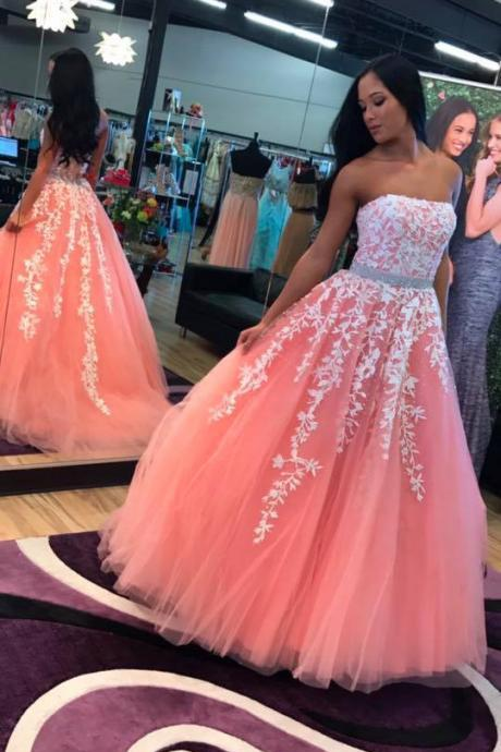 Blush Pink Prom Dress Gown Long with Ivory Lace,Formal Dress,Evening Dress Cheap