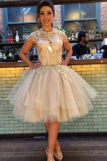 Short Champagne Lace Prom Dress Gown with Short Sleeves,Formal Dress,Homecoming Dress, Cocktail Dress,Evening Dress Cheap