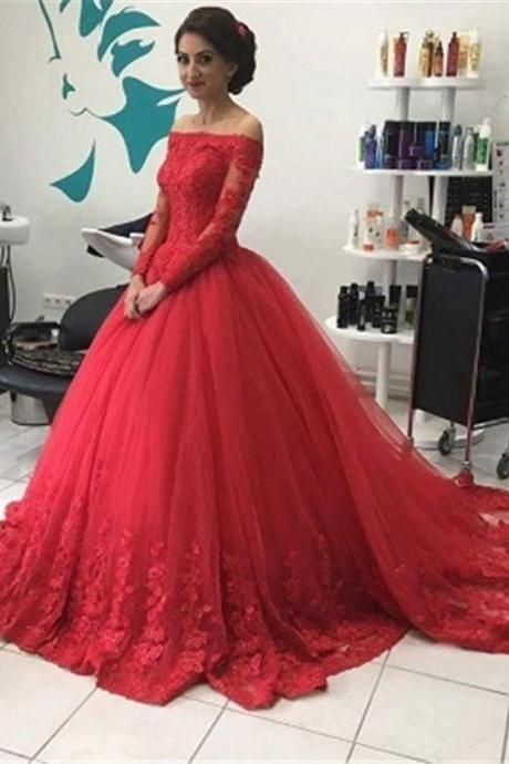 Red Lace Prom Gown Dress Long Sleeves,Quinceanera Dress,Formal Dress,Cocktail Dress,Party Dress,Graduaiton Dress Cheap