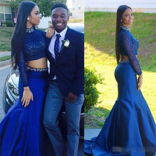 Custom Two 2 Pieces Prom Dresses Long Sleeves Prom Dress, Cheap Prom Dress, Royal Blue Prom Dress, Mermaid Prom Dress, Affordable Prom Dress, Junior Prom Dress,Royal Blue Formal Evening Dresses Gowns, Party Dresses, Plus size