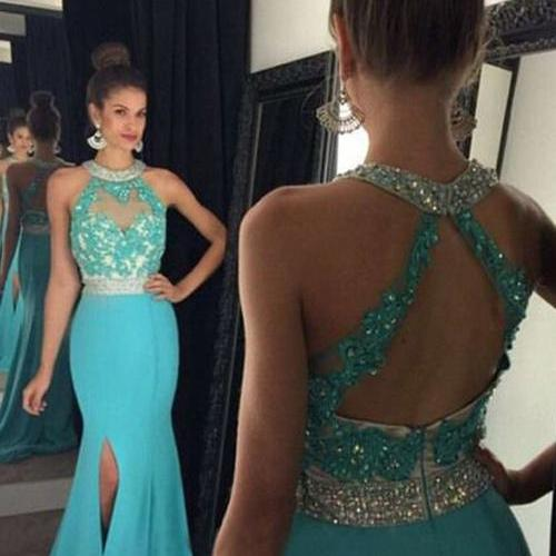 Cheap turquoise blue prom dress