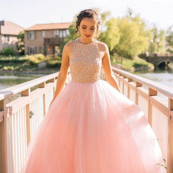 Pink Prom Dress,Tulle Prom Dress,Sequins Prom Dress,Princess Prom ...