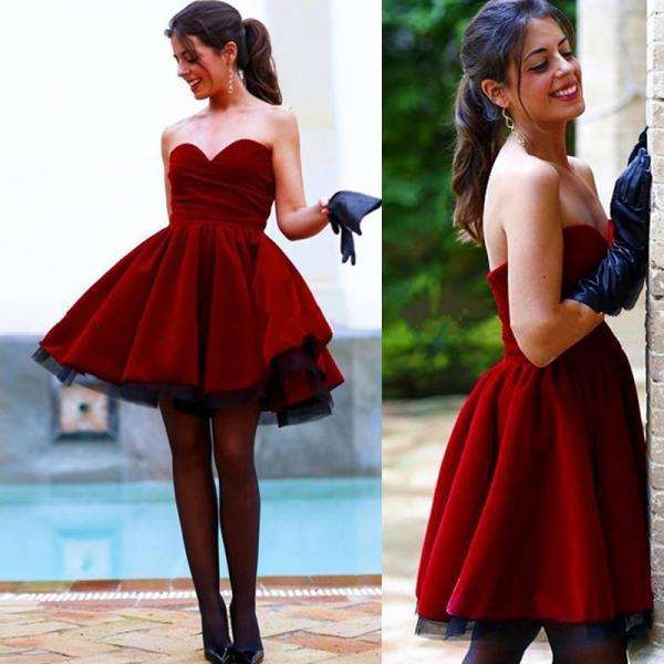 Custom Cheap Sweetheart Short Burgundy Prom Dresses Gowns Wine Red Evening Dresses Short Party Dresses Cocktail Dress Homecoming Dresses Plus Size