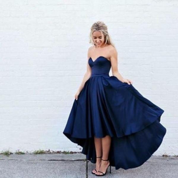 Custom Cheap High Low Navy Blue Prom Dresses Gowns Evening Dresses Party Dresses Cocktail Dress Homecoming Dresses Plus Size