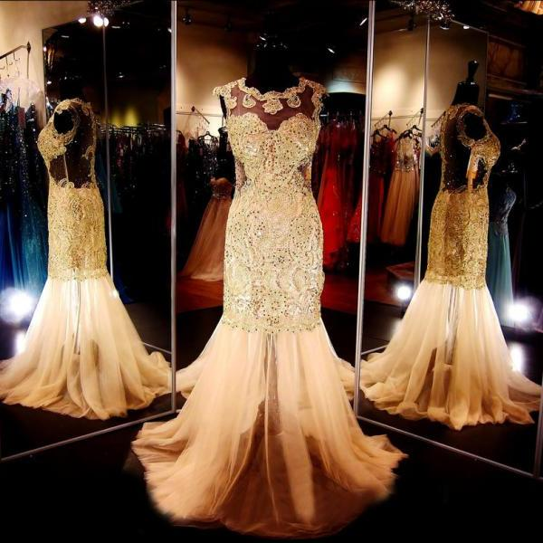 Prom Gown Champagne,Mermaid Prom Dresses, RT0002
