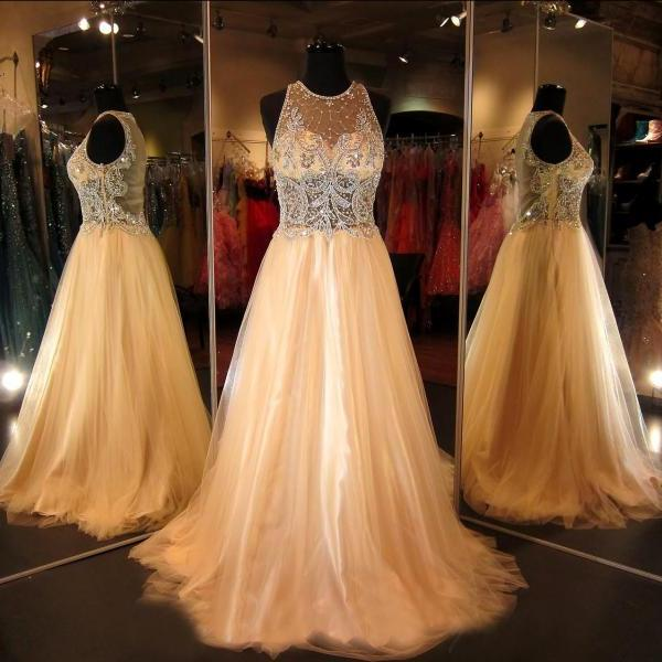 Prom Dress Champagne,Prom Gown, Evening Dress RT0003