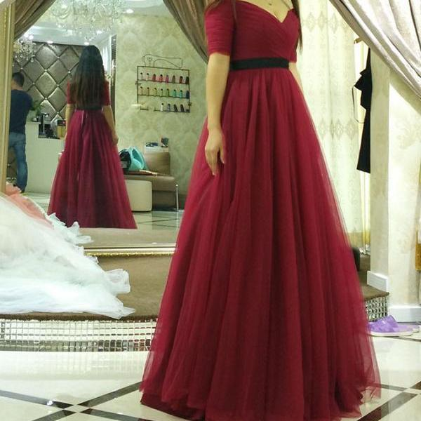 Burgundy Prom Dress Gown Short Sleeves Cheap,Long Evening Dress,Formal Dress,Cocktail Dress,Party Dress,Graduation Dress