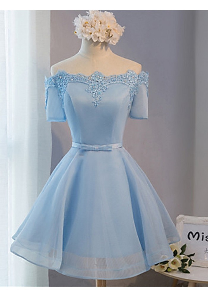 Elegant off the shoulder lace satin short prom dresses for Baby blue wedding guest dress